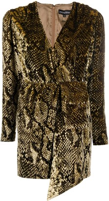 retrofete Snake-Effect Wrap-Effect Mini Dress