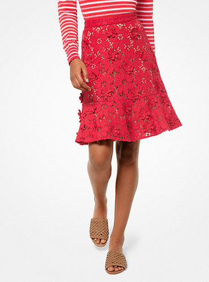 Michael Kors Floral Applique Lace Skirt