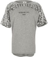 River Island Girls grey marl 'sequins all day' T-shirt