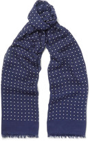 Drake's - Polka-dot Modal And Cashmere-blend Scarf