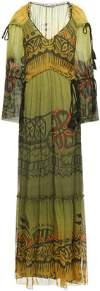 Alberta Ferretti Gathered Tassel-trimmed Printed Silk-georgette Maxi Dress