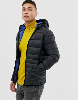 Jack and Jones Essentials hooded puffer jacket with rubberised chest logo-Black