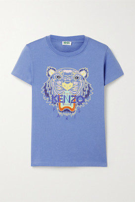 Kenzo Printed Cotton-jersey T-shirt - Blue