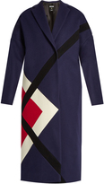MSGM Geometric-paneled wool-blend coat