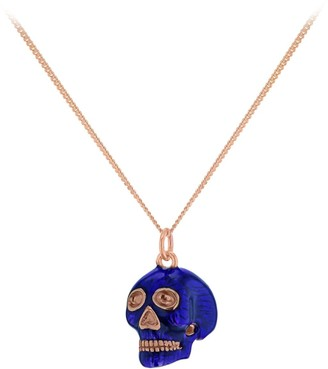 True Rocks New SS19 Small Skull Pendant In Midnight Blue Enamel & 18 Carat Rose Gold Plated Detail & Chain