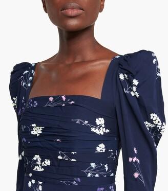 Self-Portrait Floral taffeta midi dress