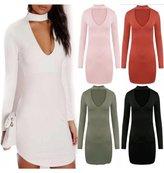 ZJ Clothes LADIES LONG SLEEVE CHOKER NECK BODY CON TUNIC DRESS (L-XL, )