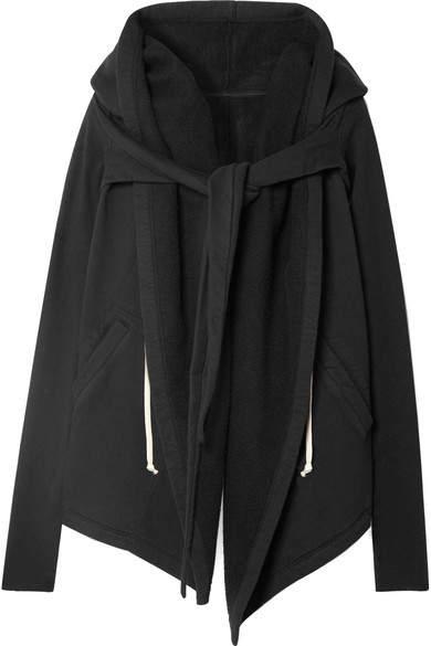 Rick Owens Tie-front Asymmetric Cotton-jersey Hoodie - Black