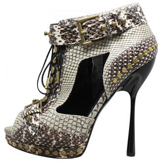 Alexander McQueen Grey Studded Python Peep Toe Platform Ankle Boots Size 37.5