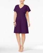 Calvin Klein Plus Size Flutter-Sleeve A-Line Dress