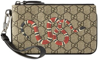 Gucci GG Supreme snake print iPhone pouch