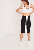 Missguided Eyelet Lace Up Front Front Midi Skirt Black