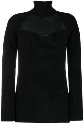 Elisabetta Franchi Mesh-Yoke Roll Neck Sweater