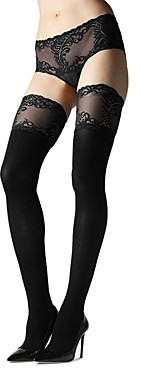 Natori Feathers Opaque Thigh Highs