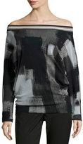 Fuzzi Off-The-Shoulder Long-Sleeve Printed Blouse, Black