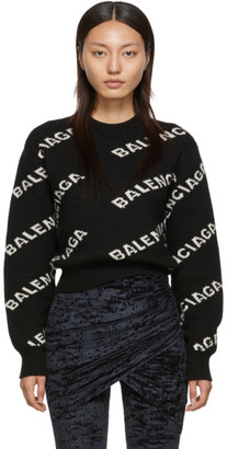 Balenciaga Black and Off-White Jacquard Logo Sweater