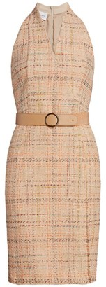 Akris Punto Summer Sleeveless Belted Tweed Dress