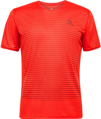 Salomon Sense Logo-Print Striped 37.5 Stretch-Jersey T-Shirt