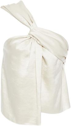 Nanushka One-shoulder Twist-front Crinkled-satin Top