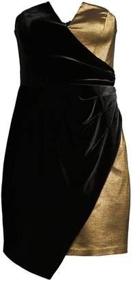 BCBGMAXAZRIA Asymmetrical Strapless Mini Cocktail Dress