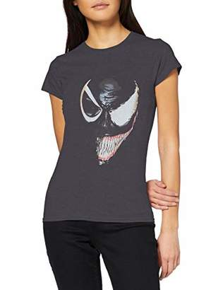 Marvel Women's Universe Venom Split Face T-Shirt,8 (Size:S)
