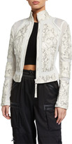 Blanc Noir Snake Leather Moto Jacket
