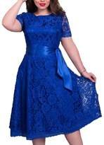 Faaaashion Women's Vintage Plus Size Floral Lace Dress with Belt Solid Color L-6XL