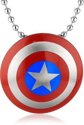 "Marvel Comics Unisex Captain America Stainless Steel Chain Pendant Necklace 24"""