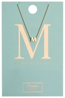Orelia Gold Plated Initial M Necklace
