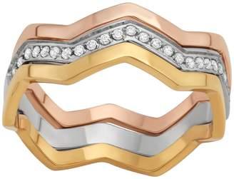 Stella Di Femmex Stainless Steel Tri-Tone Chevron Ring Set