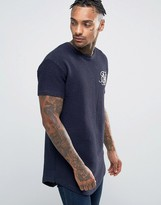 SikSilk Indigo T-Shirt With Curved Hem