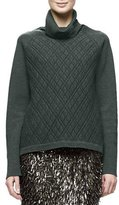 Lela Rose Long-Sleeve Turtleneck Sweater, Olive