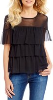 Moa Moa Mesh Tiered Ruffle Short Sleeve Top