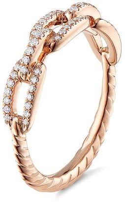 David Yurman 'Stax' diamond 18k rose gold chain link ring