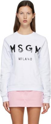 MSGM White and Black Brushed Logo Sweatshirt