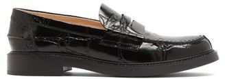 Tod's Crocodile-effect Leather Penny Loafers - Black