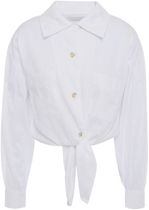 Current/Elliott Cropped Knotted Cotton-gauze Shirt