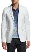Etro Tonal Jacquard Two-Button Blazer, White