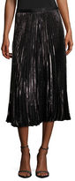 Diane Von Furstenberg Heavyn Metallic Pleated Midi Skirt