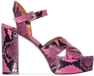 Paris Texas Python-Effect 120mm Platform Sandals