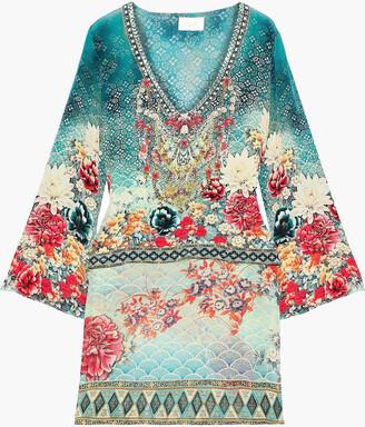Camilla Her Heirloom Layered Embellished Printed Silk-chiffon Tunic