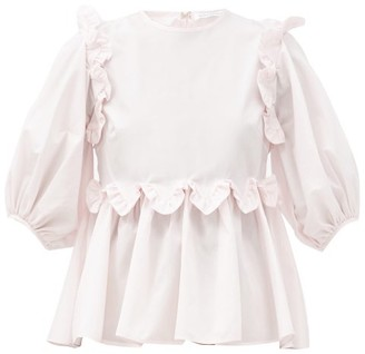 Cecilie Bahnsen Marie Ruffled Cotton-poplin Blouse - Light Pink