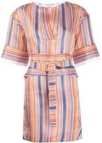 Victoria Victoria Beckham Striped Tie-Waist Mini Dress