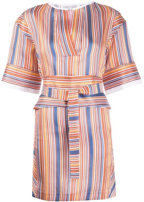 Victoria Victoria Beckham Striped Tie-Waist Mini Dress
