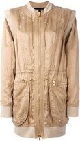 Balmain collarless bomber style coat - women - Cotton/Polyamide/Spandex/Elastane/Viscose - 34