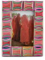Geometric Wood Multicolor and Red Photo Frame (4x6), 'Agra Abstract'