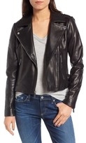 MICHAEL Michael Kors Women's Buckle Detail Leather Moto Jacket