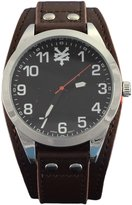 Zoo York Men's Black and Silver-Tone Brown Strap Watch