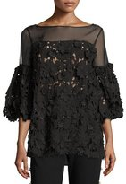 Prabal Gurung Guipure-Lace Bell-Sleeve Blouse, Black