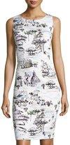 Chetta B Rome-Print Sleeveless Sheath Dress, White Pattern